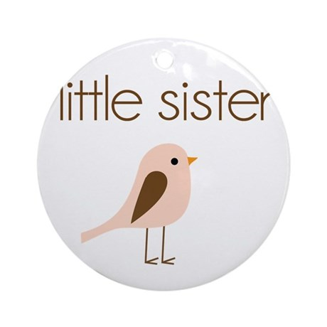little sister t-shirt birdie modern Ornament (Roun