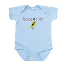 mod biggest sister t-shirt birdie Infant Bodysuit