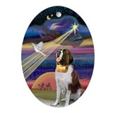 Saint Bernard and Christmas Star Oval Ornament