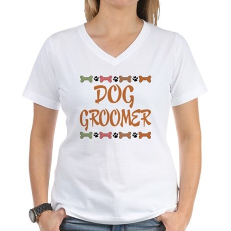 Cute Dog Groomer Women's V-Neck T-Shirt