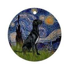Starry Night Black Great Dane Ornament (Round)