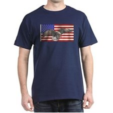 American Flag w/Eagle Black T-Shirt