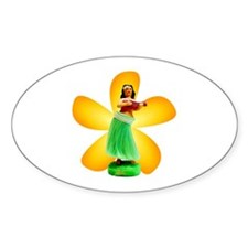 Hula Girl Oval Decal