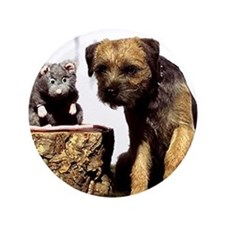 "Border Terrier and Rat 3.5"" Button"