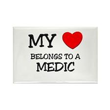 My Heart Belongs To A MEDIC Rectangle Magnet (10 p