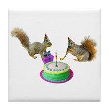 Squirrels Birthday Tile Coaster