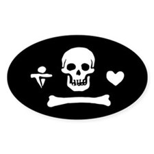 Stede Bonnet Jolly Roger Oval Decal