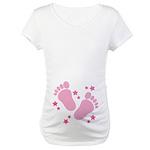 Pink Girl Baby Footprints Maternity T-Shirt
