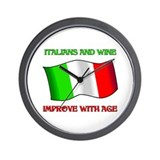 Italians and Wine Improve With Age Wall Clock