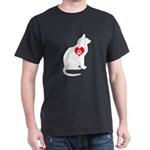 Cat Pawprint Heart Black T-Shirt