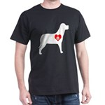 Dog Heart Pawprint Black T-Shirt