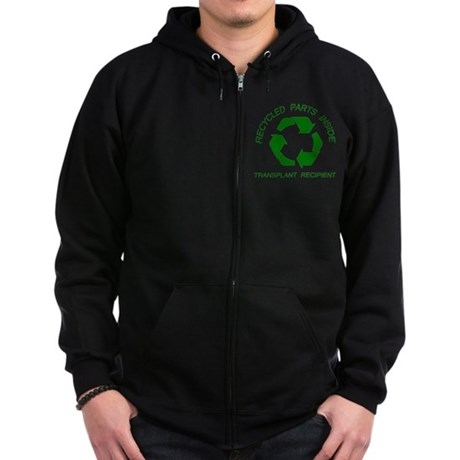 Recycled Parts Inside Zip Hoodie (dark)