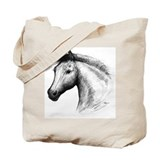 Black Line Horse Tote Bag