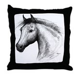 Black Line Horse Throw Pillow
