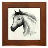 Black Line Horse Framed Tile