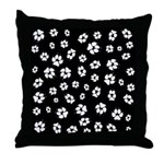 Dog Tracks Pawprints Throw Pillow