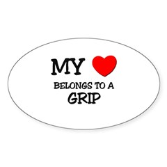 My Heart Belongs To A GRIP Oval Sticker