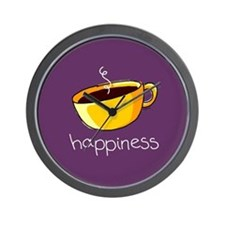 Happiness is Coffee Wall Clock