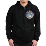 Magic Moon Dragon Zip Hoodie (dark)