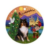 Tri Color Sheltie Xmas Fantasy Ornament (Round)