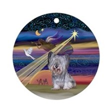 Skye Terrier & Christmas Star Ornament (Round)