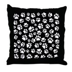 Cat Tracks Pawprints Throw Pillow