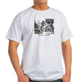 B/W Mountain Log Cabin Ash Grey T-Shirt