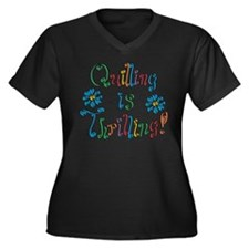 Quilling Women's Plus Size V-Neck Dark T-Shirt