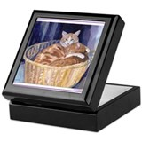 Two cats in a basket Keepsake Box
