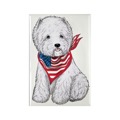 Stars &amp;amp; Stripes Westie Rectangle Magnet (10 pack)