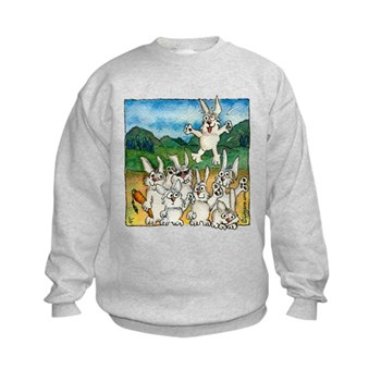 Bunny Rabbits Jump Kids Sweatshirt