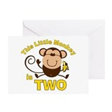 Little Monkey 2nd Birthday Boy Greeting Card