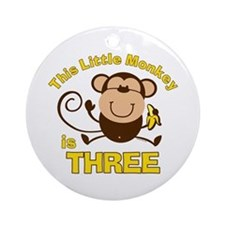 Little Monkey 3rd Birthday Boy Ornament (Round)