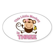 Little Monkey 3rd Birthday Girl Oval Decal