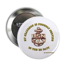 "Navy Gold Grandson 2.25"" Button (100 pack)"