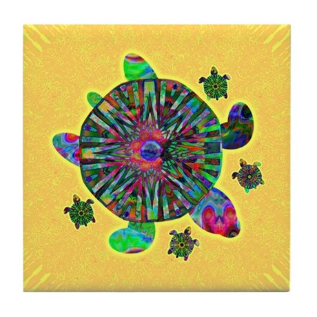 Colorful Sea Turtle Tile Coaster