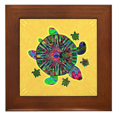 Colorful Sea Turtle Framed Tile