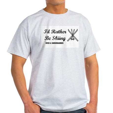 Skiing Over A Snowboarder Ash Grey T-Shirt
