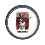 WHERES SANTA? GREAT DANE  Wall Clock