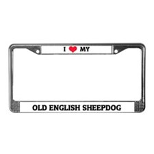 I Love (Heart) My Old English Sheepdog License Pla
