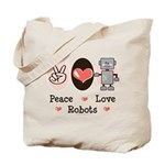 Peace Love Robots Tote Bag