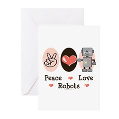 Peace Love Robots Greeting Cards (Pk of 10)