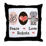 Peace Love Robots Throw Pillow