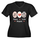 Peace Love Robots Women's Plus Size V-Neck Dark T-