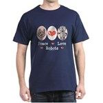 Peace Love Robots Dark T-Shirt