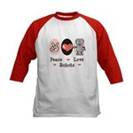 Peace Love Robots Kids Baseball Jersey