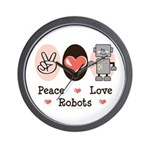 Peace Love Robots Wall Clock