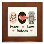 Peace Love Robots Framed Tile