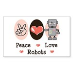 Peace Love Robots Rectangle Sticker