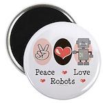 Peace Love Robots Magnet